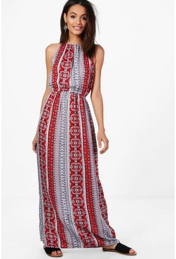 Womens Red Paisley Print High Neck Maxi Dress