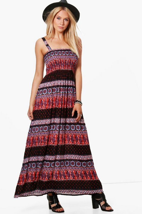 Anna Aztec Shirred Woven Dress