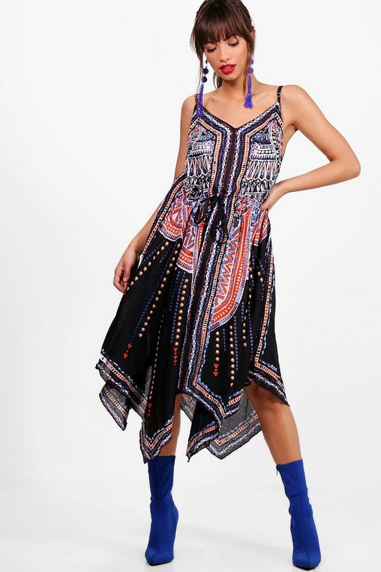 Hanky Hem Printed Midi Dress