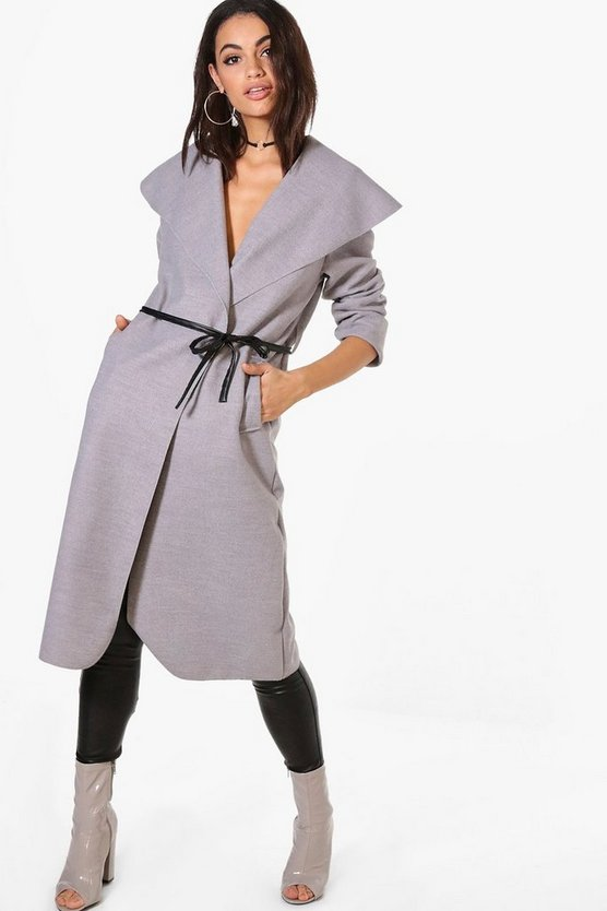 Harriet Waterfall PU Belted Wool Look Coat
