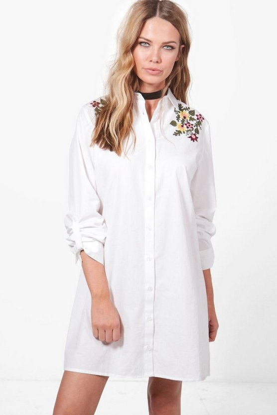 Lila Embroidered Front & Back Shirt Dress