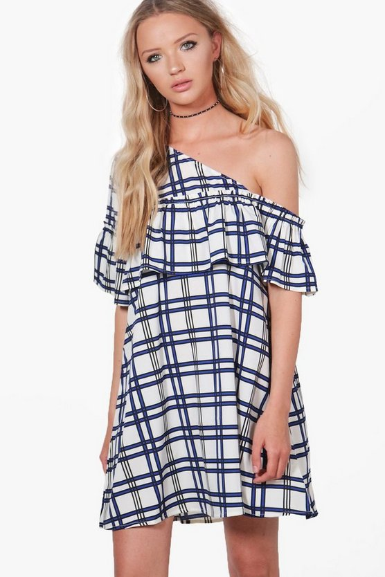 Lara One Shoulder Check Frill Swing Dress