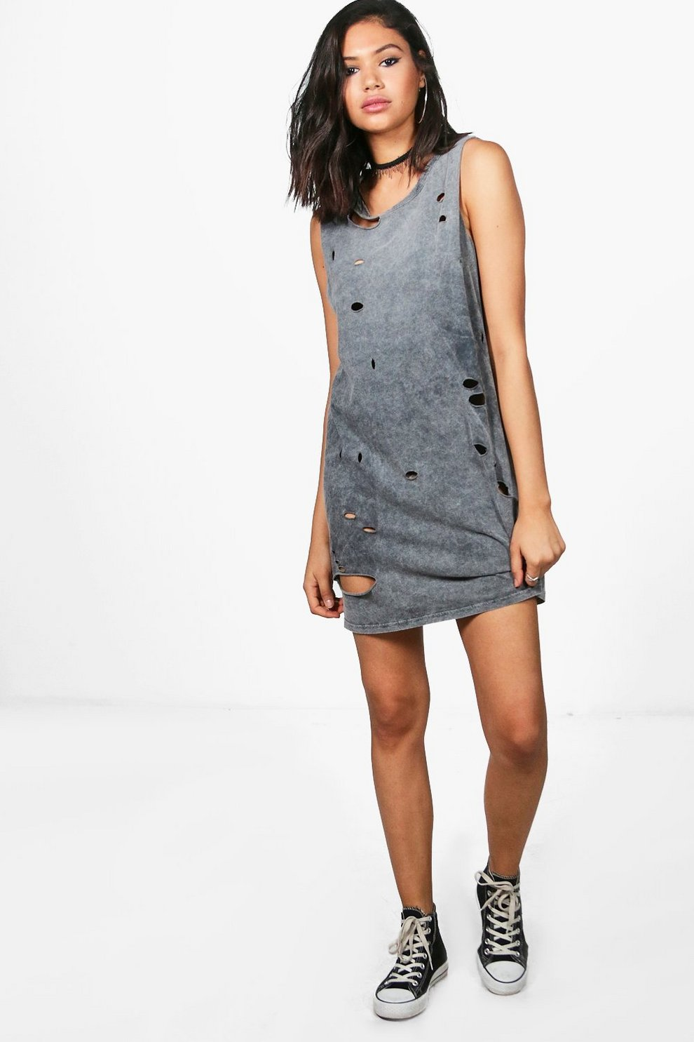 525a653308e Georgia Sleeveless Distressed T-Shirt Dress | Boohoo