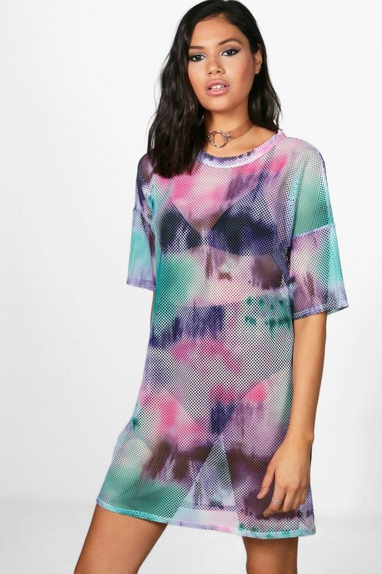 Erin Tie Dye Oversized Mesh Dress