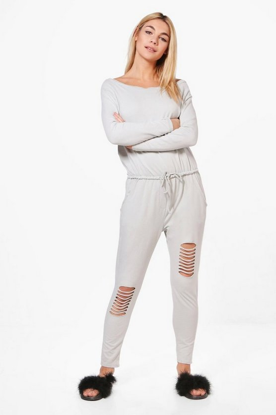 Bryony Oversized Distressed Sweat Jumpsuit