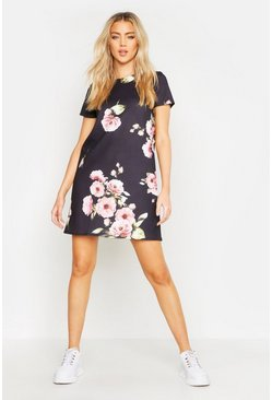 Womens Black Floral Cap Sleeve Shift Dress