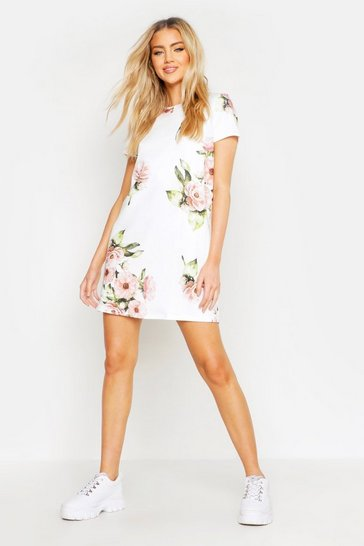 Womens White Floral Cap Sleeve Shift Dress
