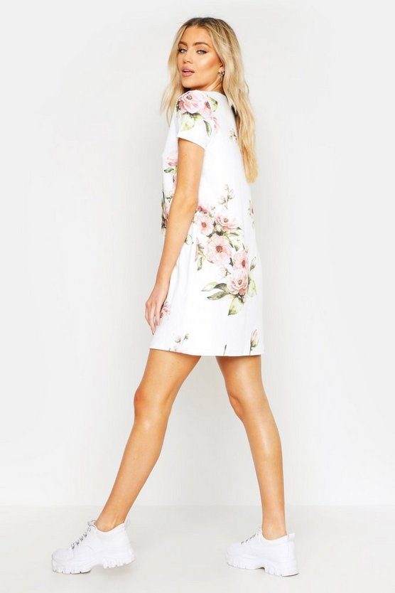 Floral Cap Sleeve Shift Dress