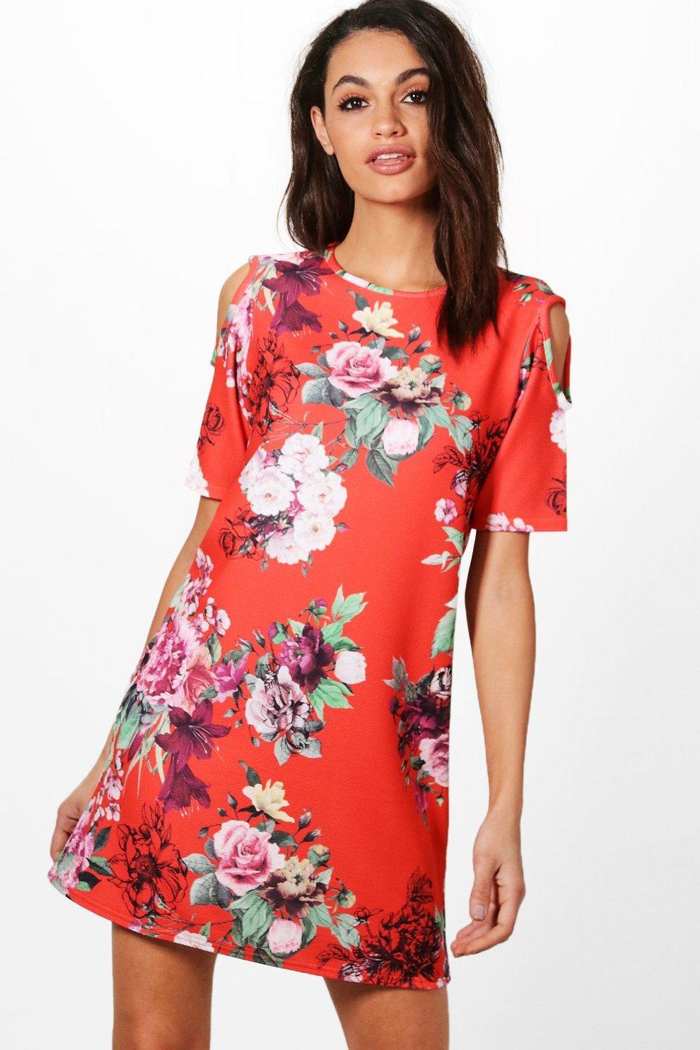 d4fdb32ad5e Womens Red Oriental Floral Cold Shoulder Shift Dress