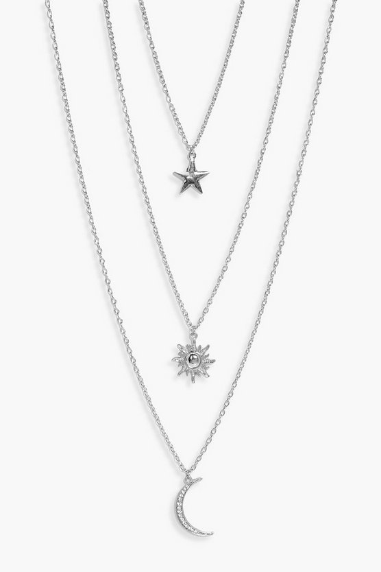 Womens Silver Star Sun Moon Layered Necklace