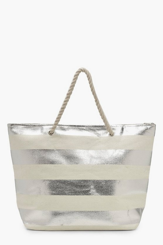 Womens Silver Striped Paper Straw Beach Bag