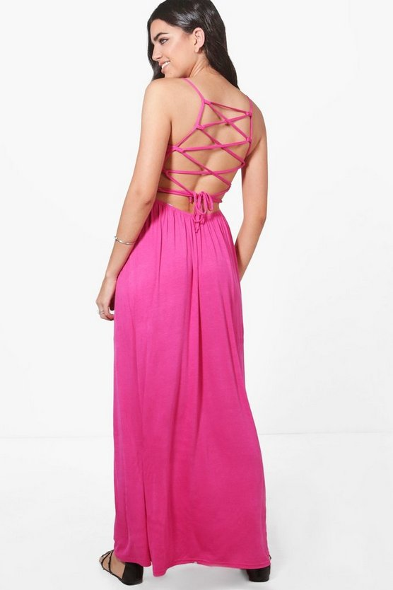 Cross Back Strappy Maxi Dress