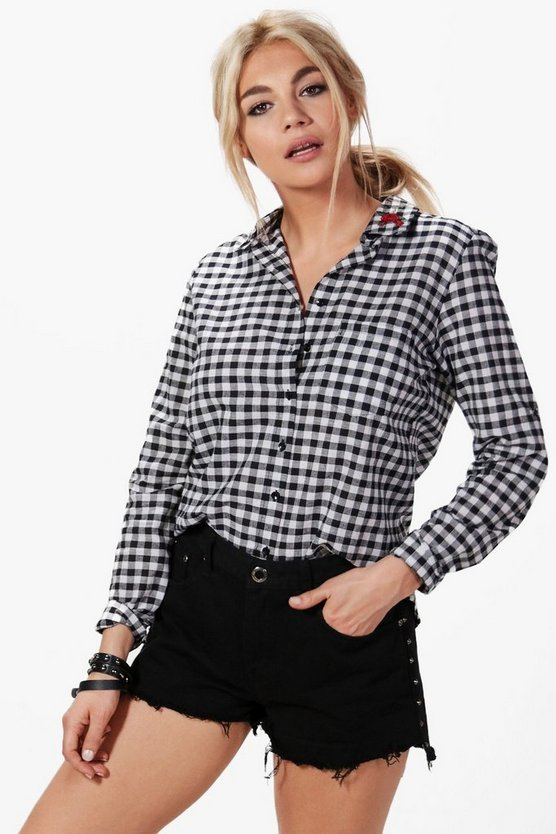 Aria Gingham Embroidered Collar Shirt
