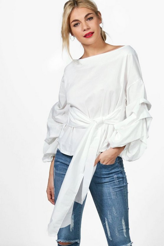 Lucy Premium Woven Ruffle Sleeve Top