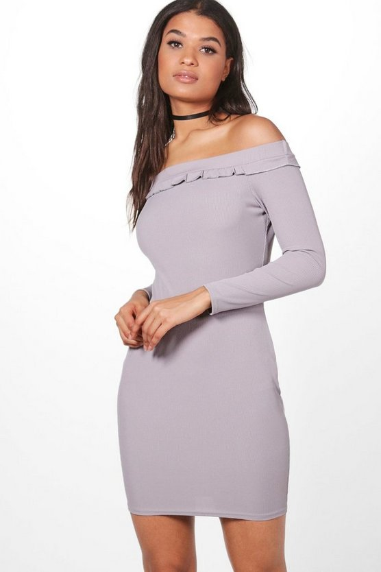 Lucy Ruffle Rib Off The Shoulder Dress