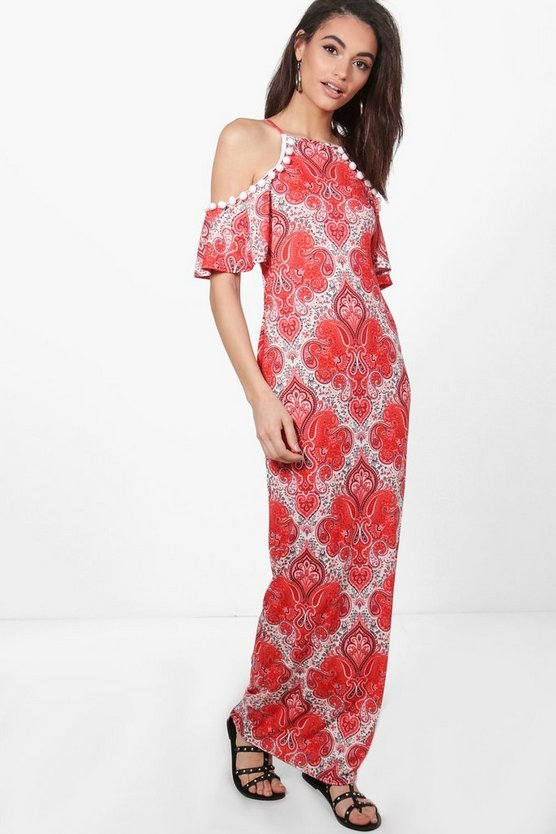 Tanya Cold Shoulder Pom Pom Paisley Maxi Dress