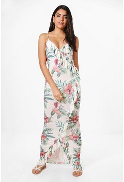 Womens White Katy Ruffle Wrap Floral Maxi Dress