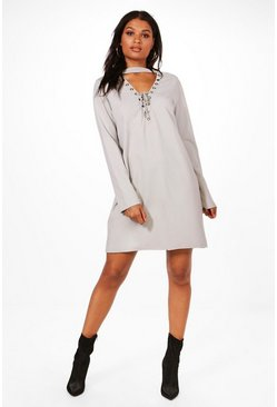 Womens Grey Michelle Lace Up Front Sweat Dress