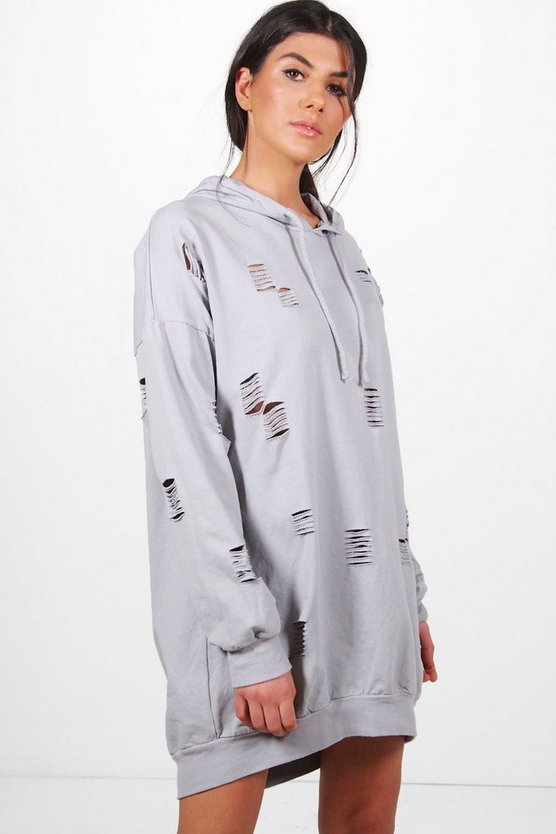Sally Distressed Hooded Sweat Dress