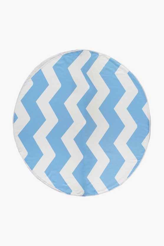 Chevron Print Round Beach Towel