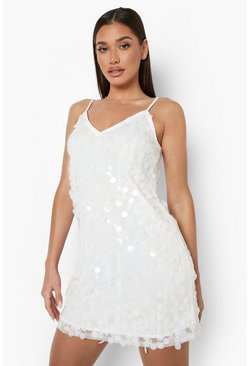 Womens Ivory Rivinda Disc Sequin Slip Dress