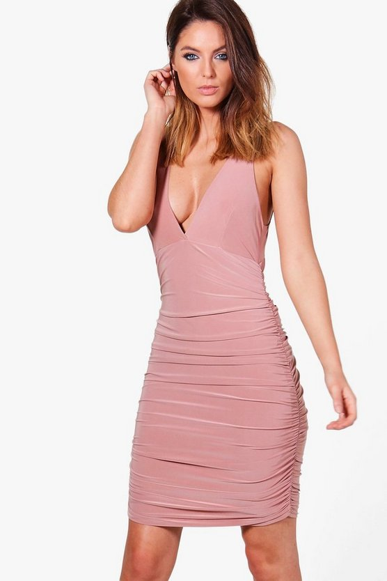 Megan Slinky Ruched Bodycon Dress