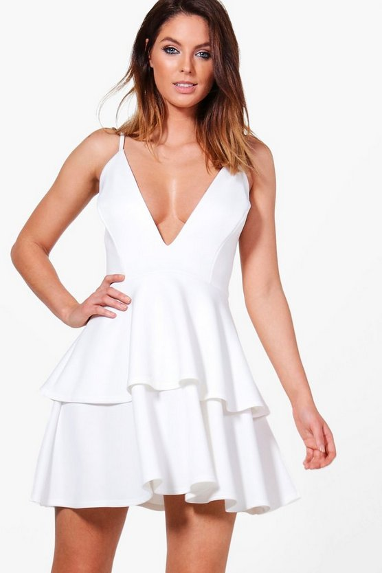 Womens Ivory Julia Strappy Plunge Layer Hem Skater Dress