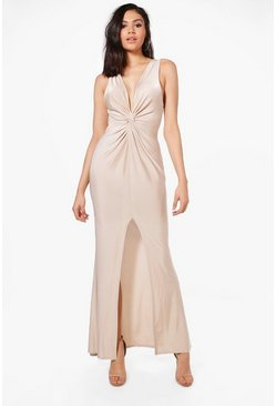 Womens Champagne Slinky Knot Front Maxi Dress