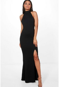 Womens Black High Neck Extreme Split Front Maxi Dress