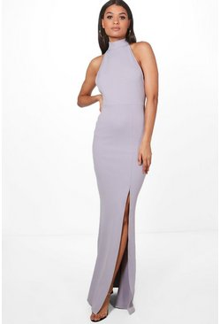 Lilac High Neck Extreme Split Front Maxi Dress