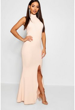 Nude High Neck Extreme Split Front Maxi Dress