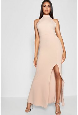 Stone High Neck Extreme Split Front Maxi Dress