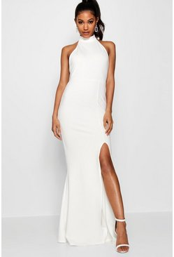 White High Neck Split Leg Maxi Bridesmaid Dress