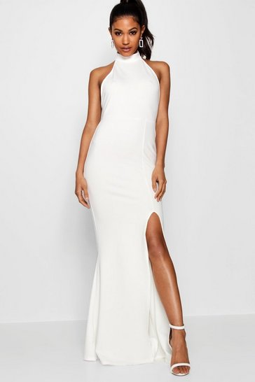 Womens White High Neck Extreme Split Front Maxi Dress