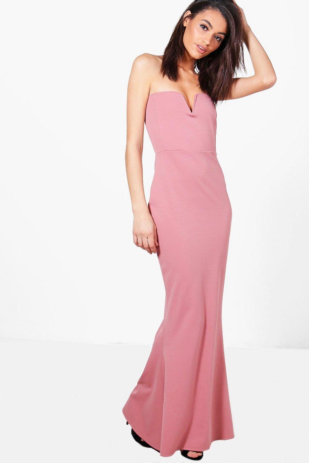 e807ef1b43 vestido largo palabra de honor con cola de sirena y escote pronunciado katie