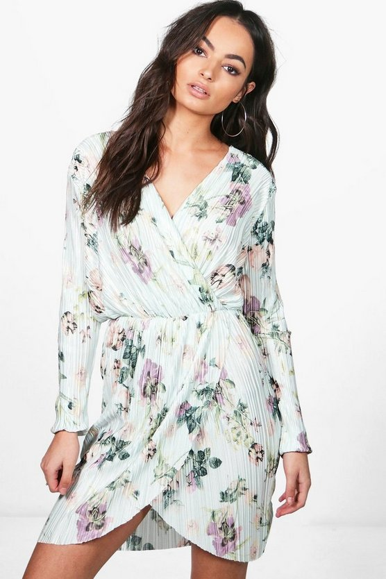 Pleat Floral Wrap Midi Dress