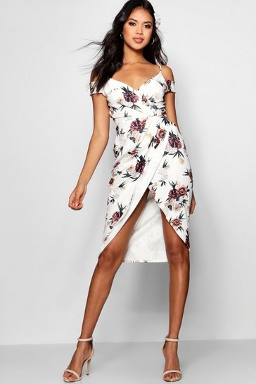 Womens Ivory Open Shoulder Floral Wrap Midi Dress