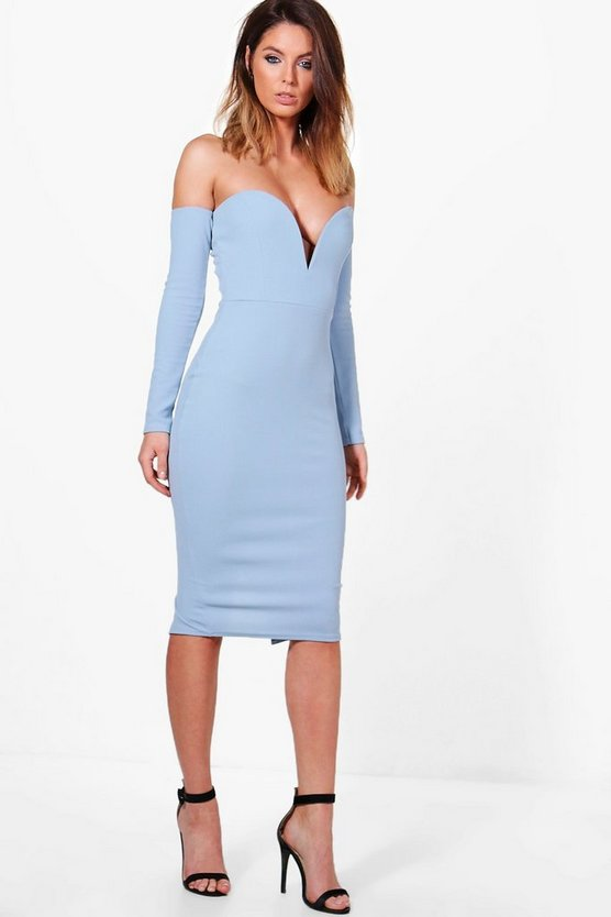 Amy Plunge Detail Off The Shoulder Midi Dress