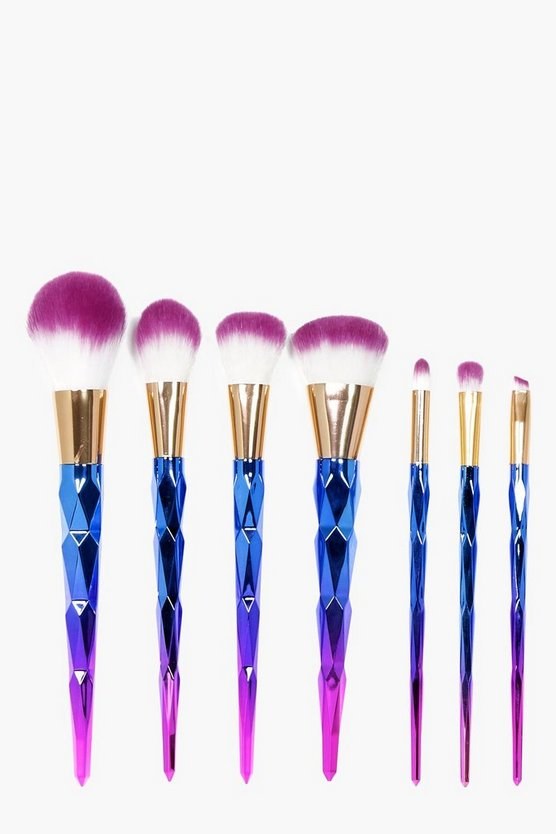 Blue 7 Piece Ombre Unicorn Brush Set