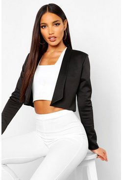 Black Lapel Crop Blazer