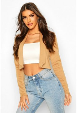 Womens Camel Lapel Crop Blazer
