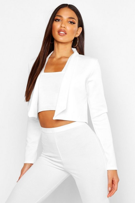 Womens Cream Lapel Crop Blazer