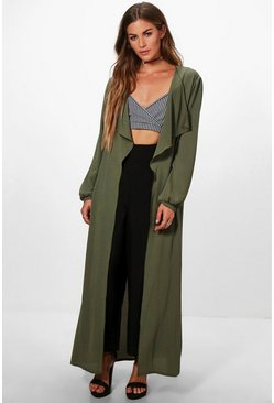 Womens Khaki Heather Waterfall Duster