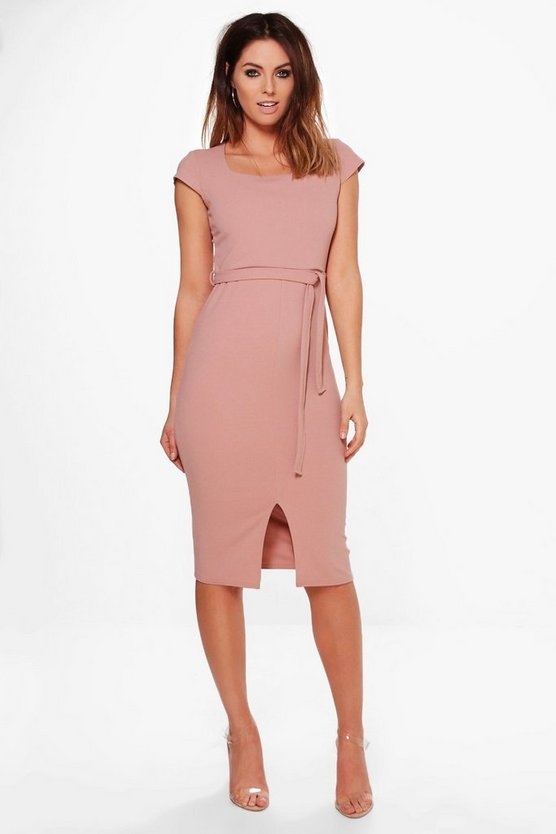 Womens Rose Nicola Belted Slit Front Dress