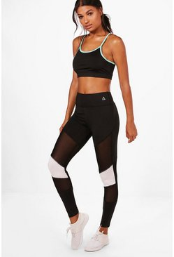 Womens Black Katie Fit Mesh Block Running Leggings