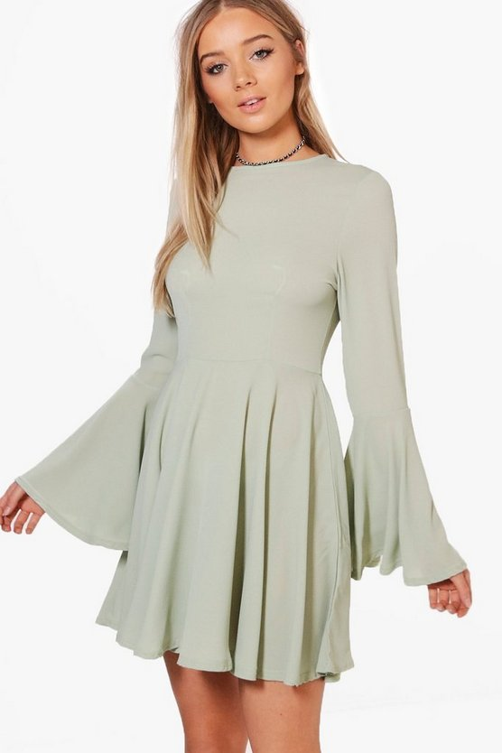 Saskia Flute Sleeve Skater Dress