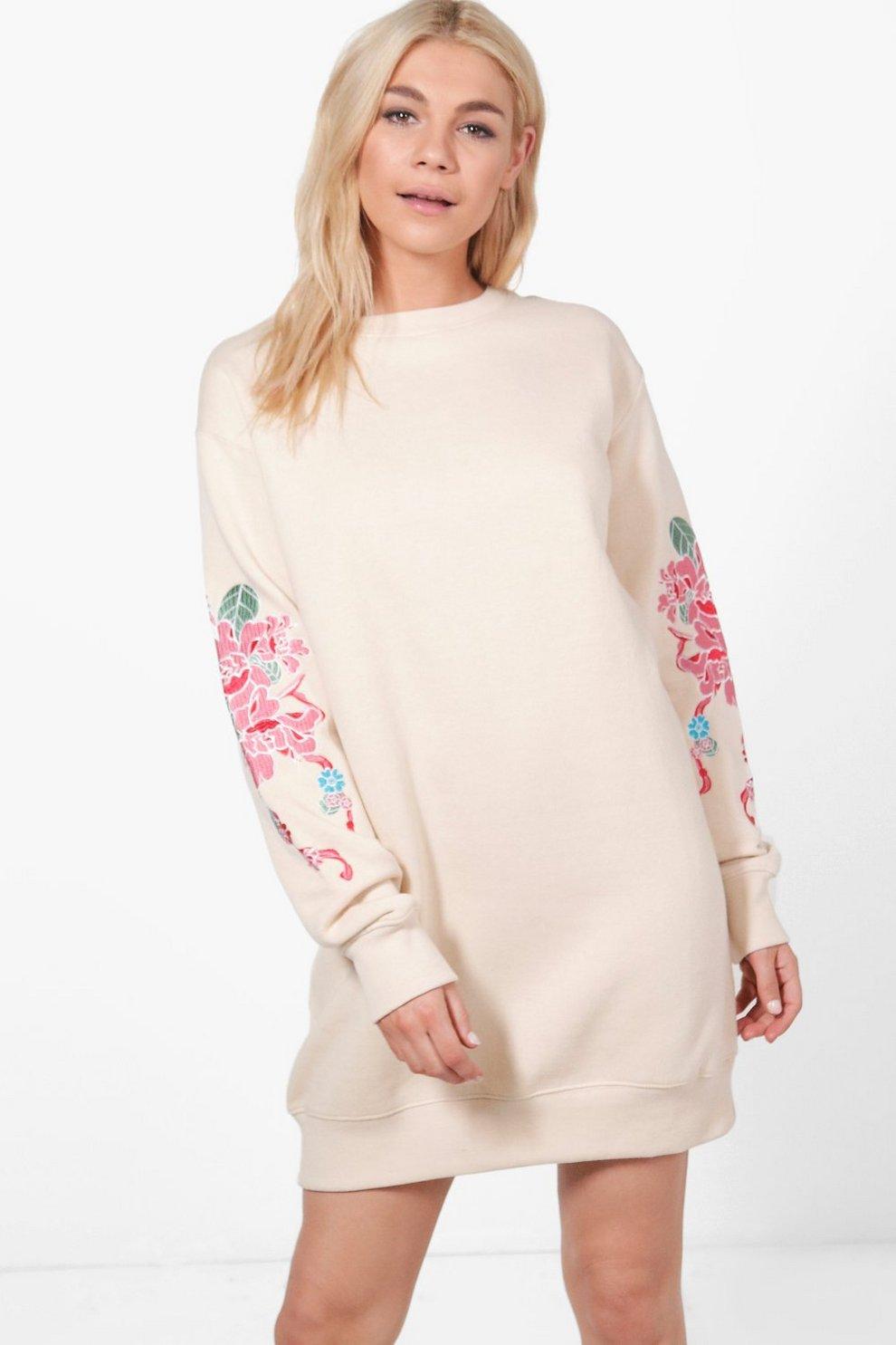 86ecdfb6b791 Rosie Oriental Embroidered Sweat Dress | Boohoo