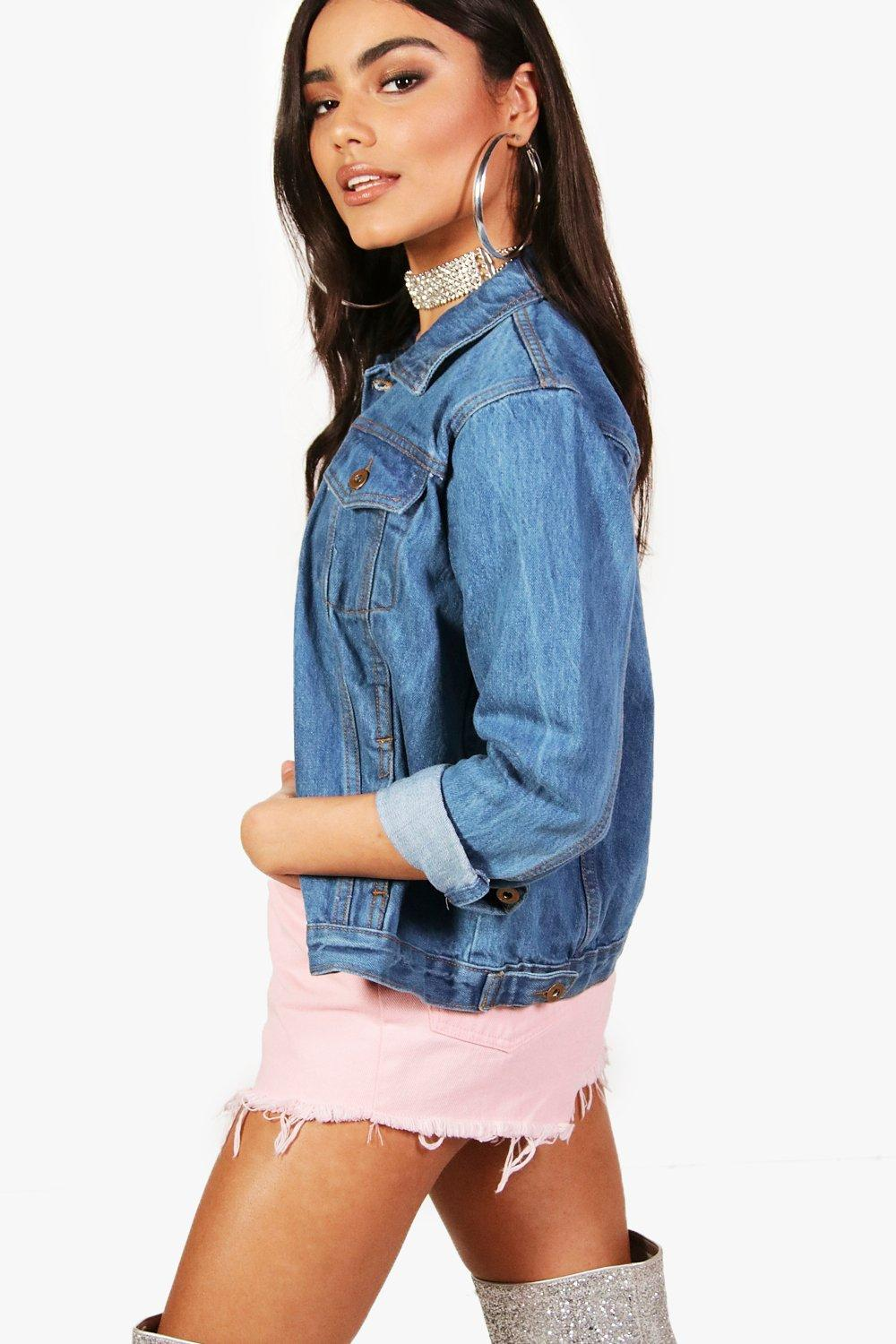 Jacket Oversized blue blue Jacket Denim Oversized mid Denim mid dI45qwd