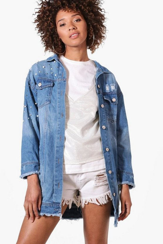 Mia Pearl Embellished Oversized Denim Jacket
