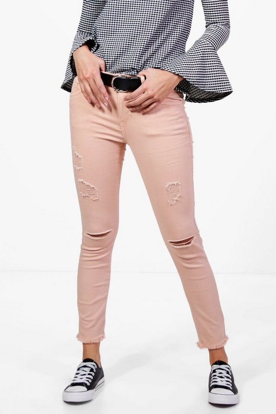 Alina 5 Pocket Mid Rise Rip Distressed Skinny Jeans
